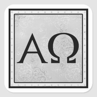 I am the Alpha and Omega, the First and the Last Square Sticker