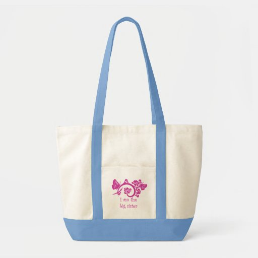 I am the big sister pink reusable tote bag