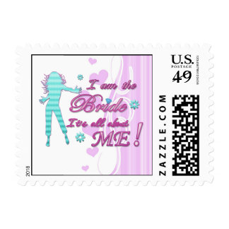 i am the bride about me wedding bachelorette brida postage stamp