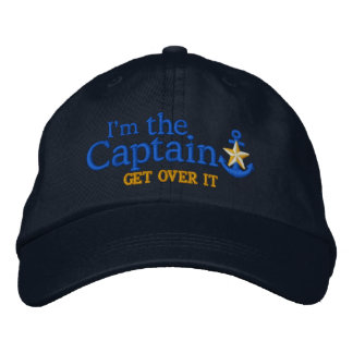 I Am The Captain Humor Nautical Gold Star Anchor Embroidered Baseball Hat