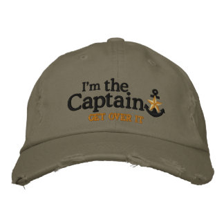 I Am The Captain Nautical Star Black Anchor Embroidered Baseball Hat