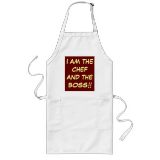 """ I am The Chef andThe Boss""  Cooking Aprons"