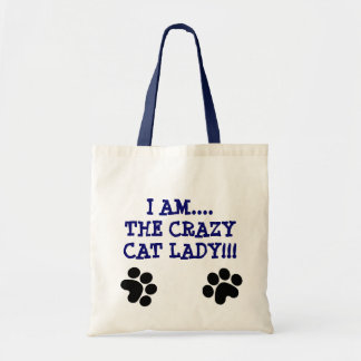 I AM....THE CRAZYCAT LADY!!! CANVAS BAGS