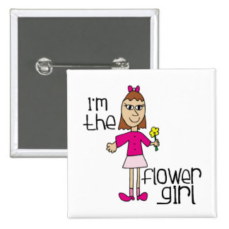 I am the Flower Girl 2 Inch Square Button