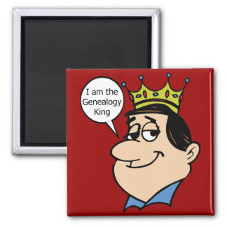 I Am The Genealogy King 2 Inch Square Magnet