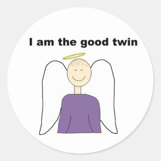 I Am The Good Twin Classic Round Sticker