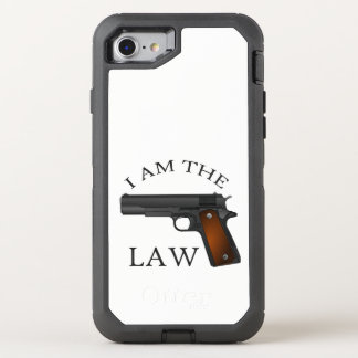 I am the law with a hand gun OtterBox defender iPhone 8/7 case