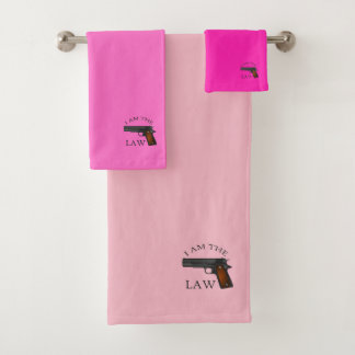 I am the law with a hand gun (pink) bath towel set
