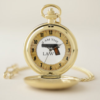 I am the law with a hand gun pocket watch