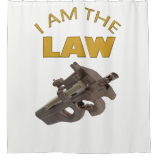 I Am The Law With A M4a1 Machine Gun Shower Curtain