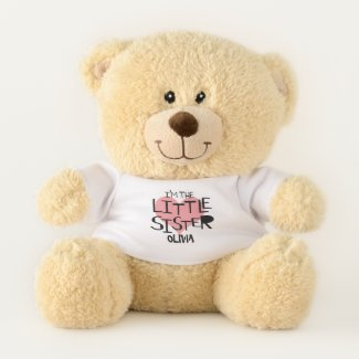 I Am The Little Sister Personalized Heart Teddy Bear