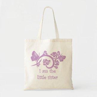 I am the little sister purple reusable tote bag bag