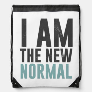 I am the new normal drawstring backpacks