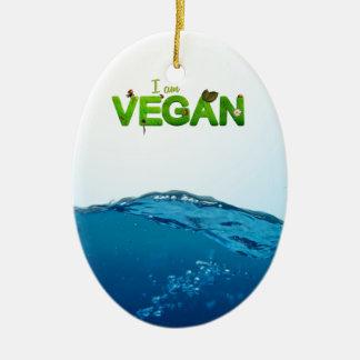 I am Vegan Ceramic Ornament