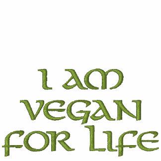 I Am Vegan For Life. Green on White. Slogan. Hoodie
