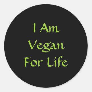 I Am Vegan For Life. Green. Slogan. Custom Classic Round Sticker