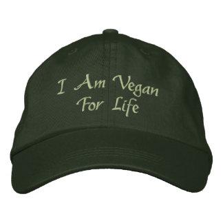 I Am Vegan For Life. Green. Slogan. Custom Embroidered Baseball Cap