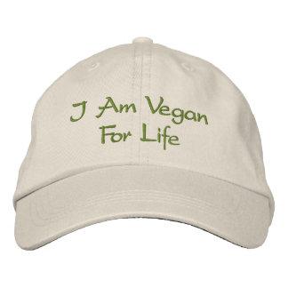 I Am Vegan For Life. Green. Slogan. Custom Embroidered Baseball Hat