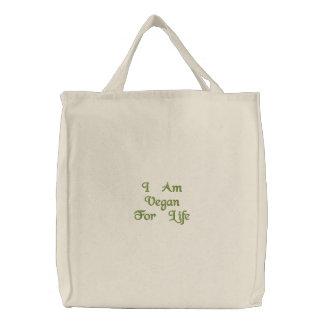 I Am Vegan For Life. Green. Slogan. Custom Embroidered Tote Bag