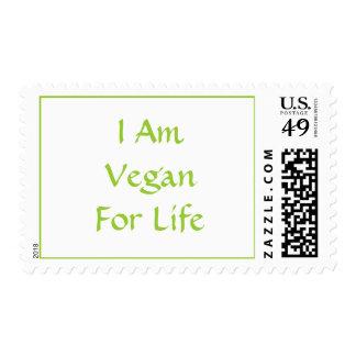 I Am Vegan For Life. Green. Slogan. Custom Postage