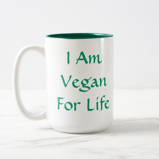 I Am Vegan For Life. Green. Slogan. Custom Two-Tone Coffee Mug
