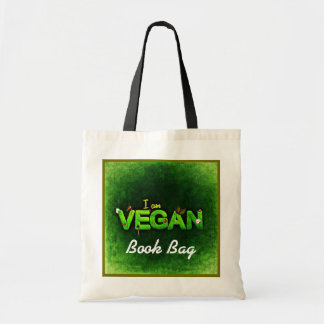 I am vegan/vegetarian in green and white tote bag