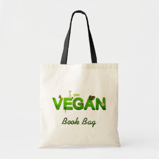 I am vegan/vegetarian in green tote bag