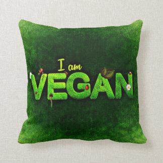 I Am Vegan Written With A Grassy Nature Texture Throw Pillow