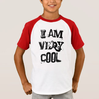 I Am Very Cool Kids Striped Sleeve V-Neck T-Shirt