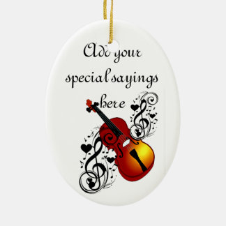 I Am Violin#2_ Double-Sided Oval Ceramic Christmas Ornament