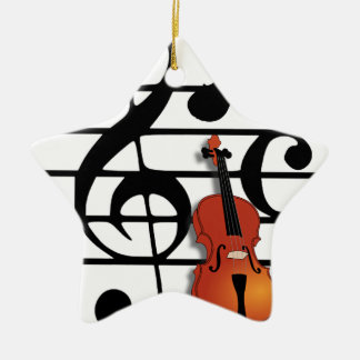 I Am Violin_ Double-Sided Star Ceramic Christmas Ornament