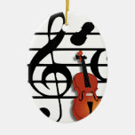 I Am Violin_ Double-Sided Oval Ceramic Christmas Ornament