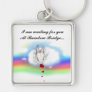I AM WAITING... Silver-Colored SQUARE KEYCHAIN