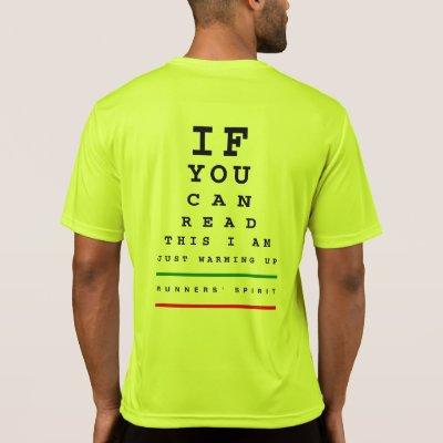 I Am Warming Up Eye Chart Ls Sport Tek Running T Shirt Zazzle