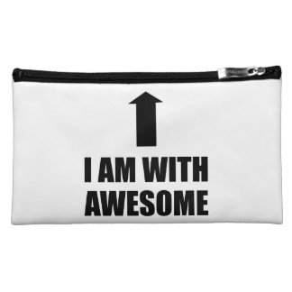 I Am With Awesome Makeup Bag