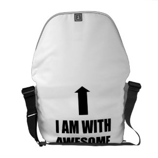 I Am With Awesome Messenger Bag