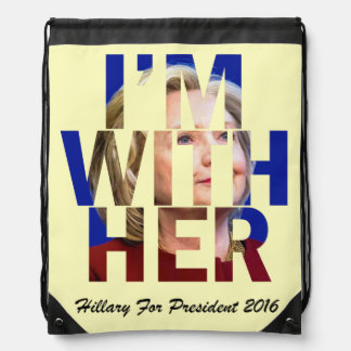 I am With Her Hillary For President Drawstring Bag