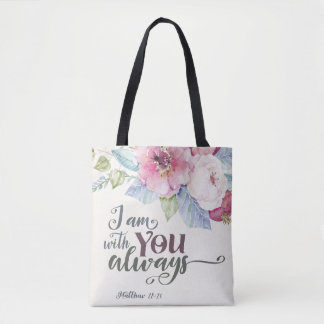 I Am With You Always All Over Print Tote Bag