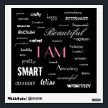 """I am....yes, you are. wall sticker<br><div class=""""desc"""">Clear out the negative talk ladies,  it&#39;s time to know your worth.  You are enough.  Raise your head up high and say these beautiful words to yourself... and believe them.</div>"""