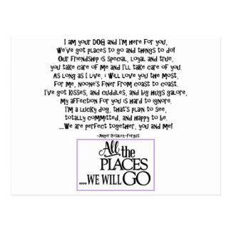 I am your dog FNL BACK purple copy Postcard