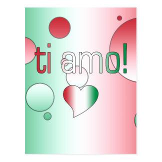 ¡i Amo! La bandera de Italia colorea arte pop Postal