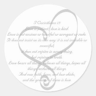 I amor de los Corinthians 13/pegatina del boda