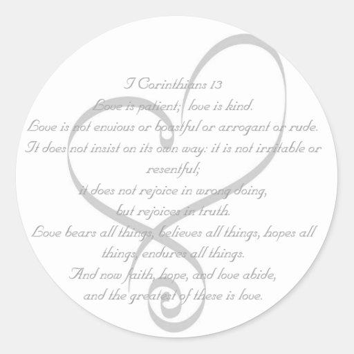 I amor de los Corinthians 13/pegatina del boda Pegatina Redonda
