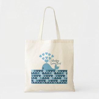 ¡I amor de Whaley usted! Azul Bolsa Tela Barata
