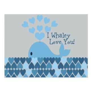 ¡I amor de Whaley usted! Azul Tarjeta Postal