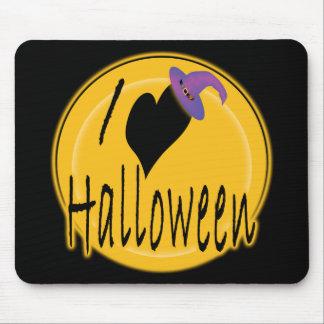 I amor (del corazón) Halloween con el gorra de la  Tapetes De Ratón