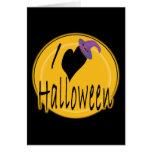 I amor (del corazón) Halloween con el gorra de la  Tarjetón