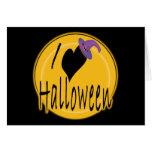 I amor (del corazón) Halloween con el gorra de la  Tarjeton