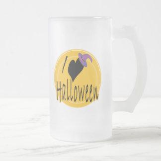 I amor (del corazón) Halloween con el gorra de la  Tazas De Café