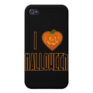 I amor Halloween del corazón con la calabaza iPhone 4 Carcasas